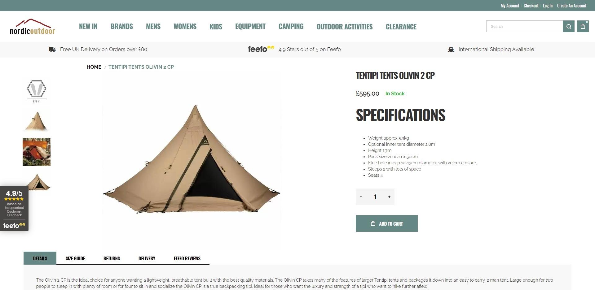 Nordic Outdoor Website Development Products