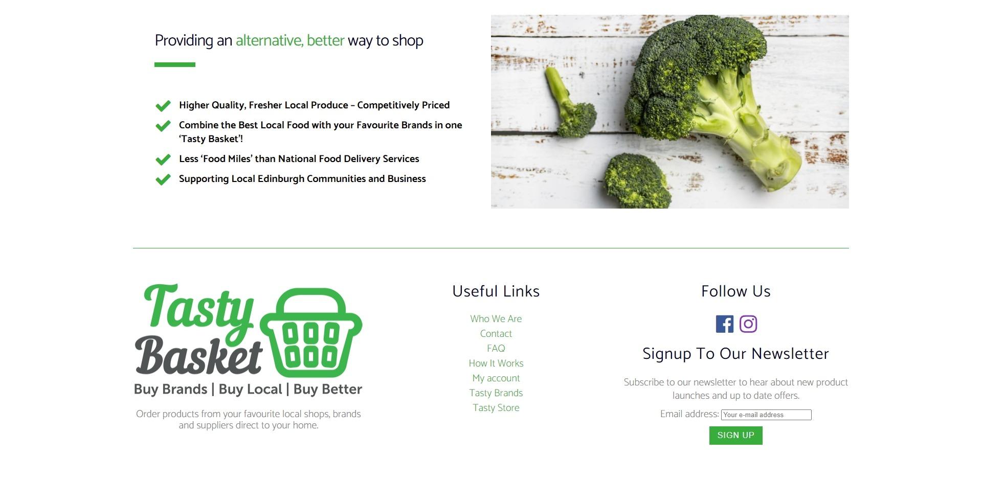 Tasty Basket Website Design Footer