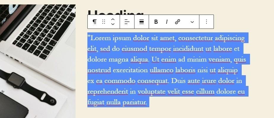 Editing a Gutenberg Text Block